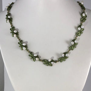 Beautiful Soft Green Leaves & Seed Pearls Necklace